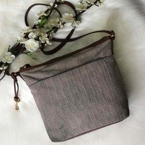 Fossil Adjustable Crossbody Basket Weave Purse